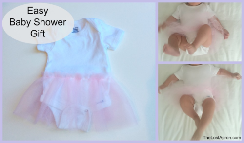 Easy Baby Shower Gift--A onesie and a roll of tulle is all you need to make a beautiful infant tutu for the perfect baby shower gift. This gift is quick and easy to assemble. - The Lost Apron