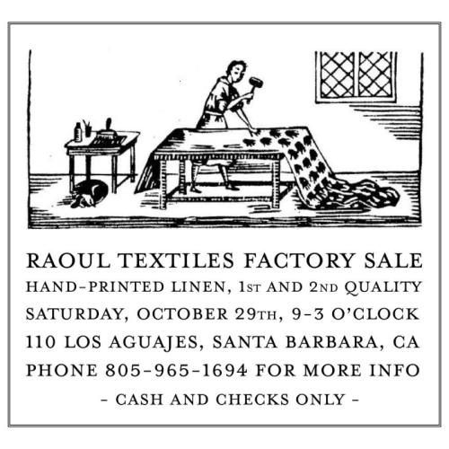 Raoul Textiles Factory Sale 2016 - Sew Santa Barbara