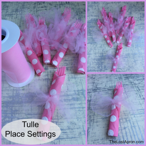 Tulle Place Settings - For a baby shower, use a roll of tulle from the party store to tie the place settings. Tulle can be used in place of ribbon for all sorts of uses. It comes in different colors. - The Lost Apron