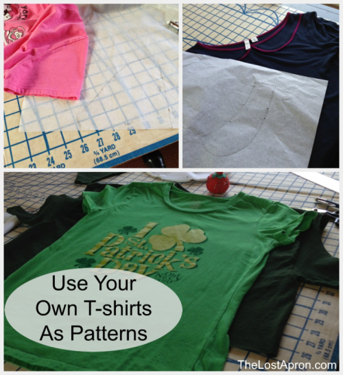 From School T-shirt to Peplum Top.   T-shirts can be boring.  Next time try restyling it into a cute top.  This t-shirt started as a size large and ended up as a small cute peplum top with a Peter Pan collar. - The Lost Apron